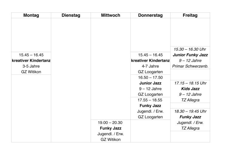 Stundenplan Sommer 2013